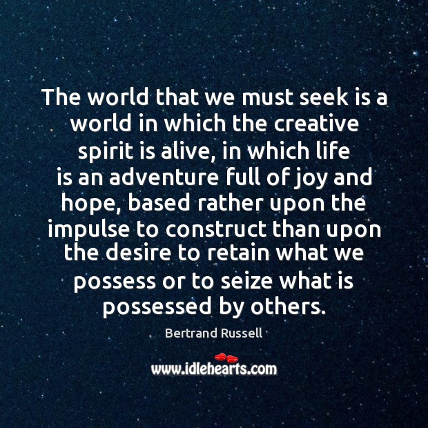 The world that we must seek is a world in which the Image