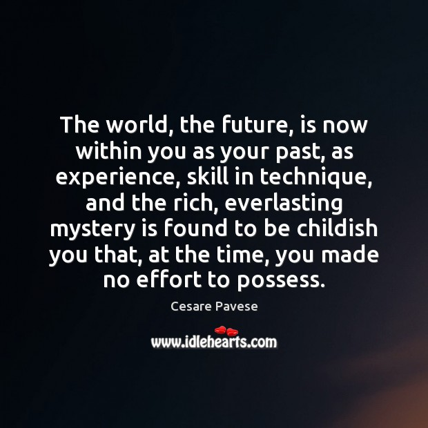 The world, the future, is now within you as your past, as Cesare Pavese Picture Quote