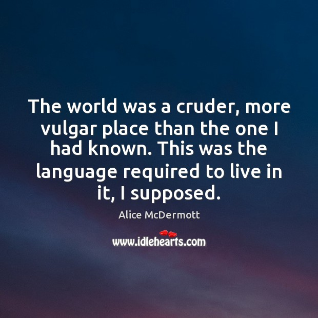 Image, The world was a cruder, more vulgar place than the one I