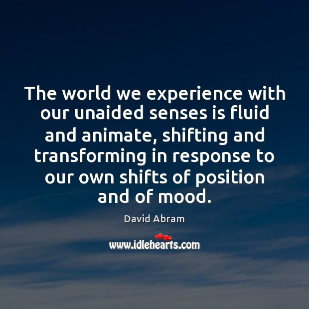 The world we experience with our unaided senses is fluid and animate, Image