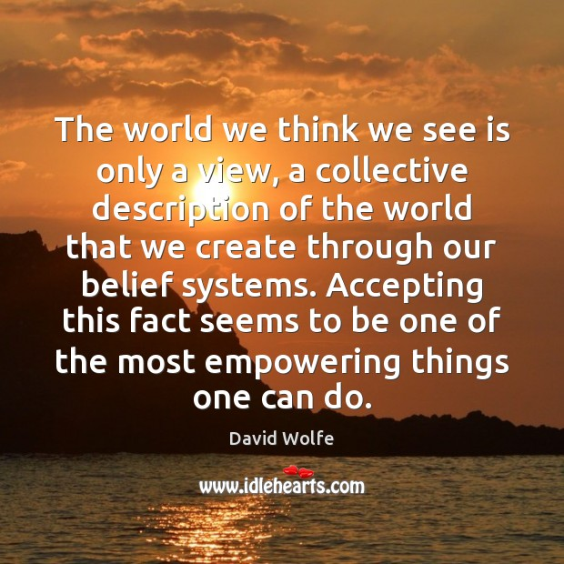 The world we think we see is only a view, a collective David Wolfe Picture Quote
