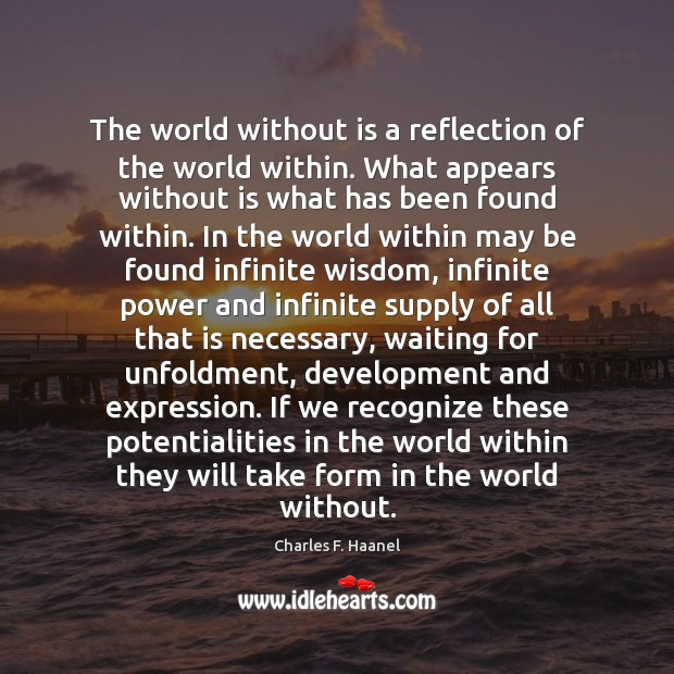 Image, The world without is a reflection of the world within. What appears