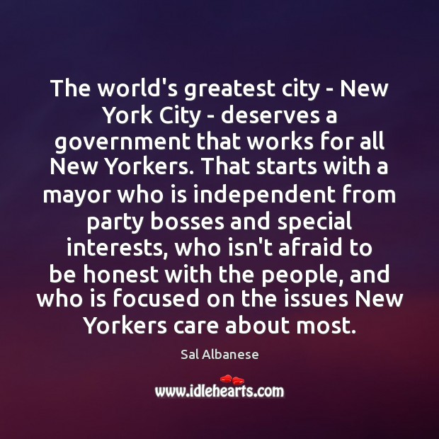 The world's greatest city – New York City – deserves a government Image