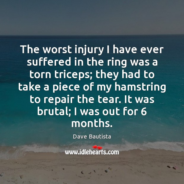 The worst injury I have ever suffered in the ring was a Image