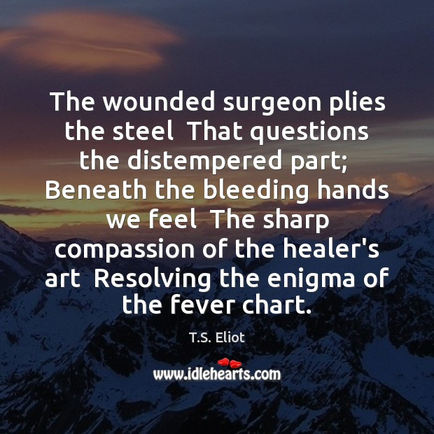 Image, The wounded surgeon plies the steel  That questions the distempered part;  Beneath