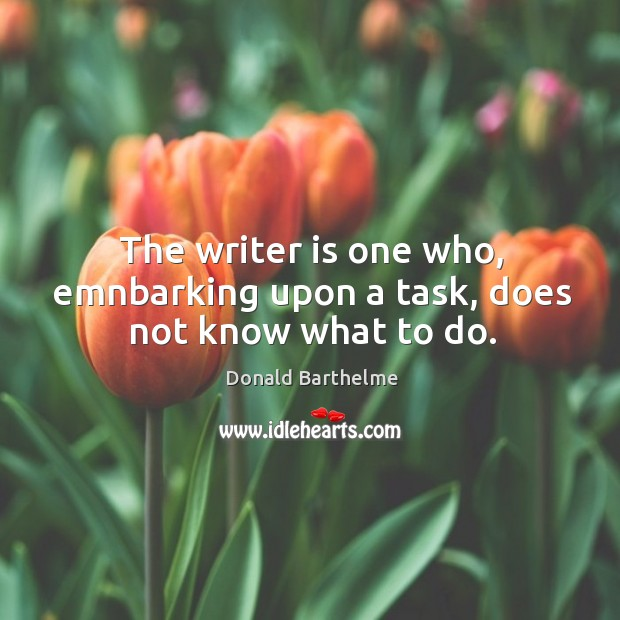 The writer is one who, emnbarking upon a task, does not know what to do. Donald Barthelme Picture Quote