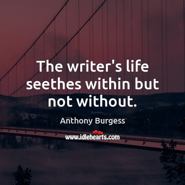 Image, The writer's life seethes within but not without.
