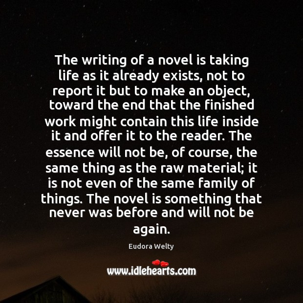 The writing of a novel is taking life as it already exists, Eudora Welty Picture Quote