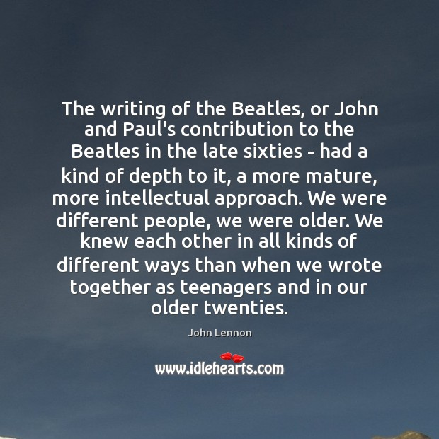 The writing of the Beatles, or John and Paul's contribution to the Image