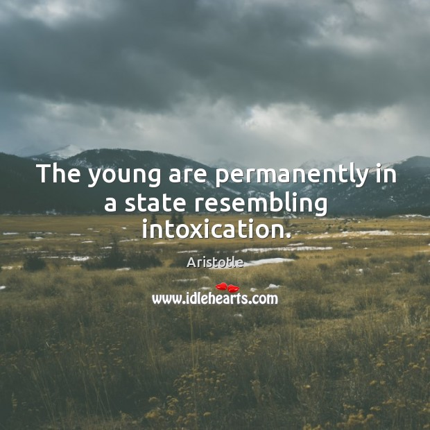 Image, The young are permanently in a state resembling intoxication.