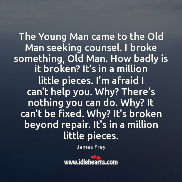 The Young Man came to the Old Man seeking counsel. I broke James Frey Picture Quote