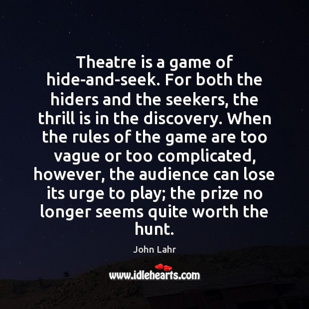 Theatre is a game of hide-and-seek. For both the hiders and the John Lahr Picture Quote