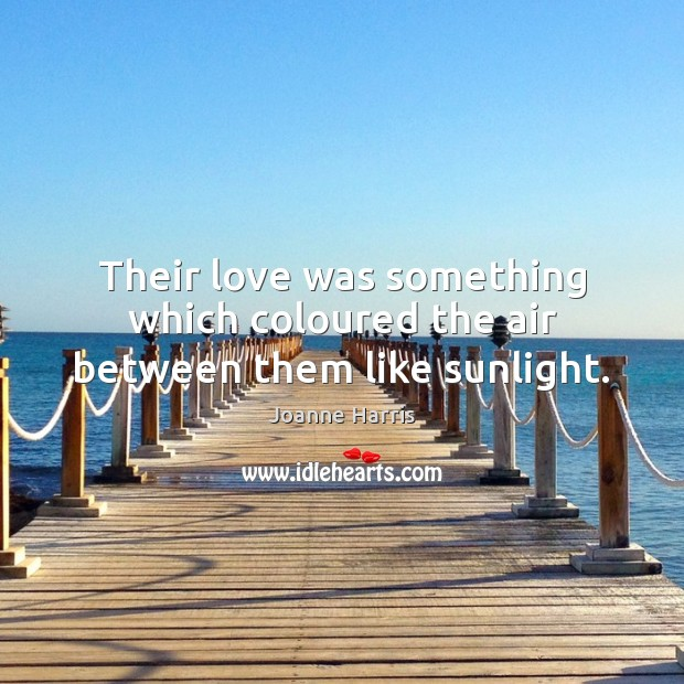 Their love was something which coloured the air between them like sunlight. Joanne Harris Picture Quote