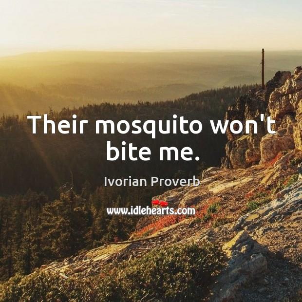 Their mosquito won't bite me. Ivorian Proverbs Image