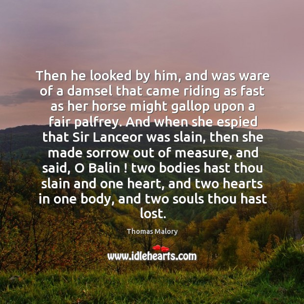 Then he looked by him, and was ware of a damsel that Image