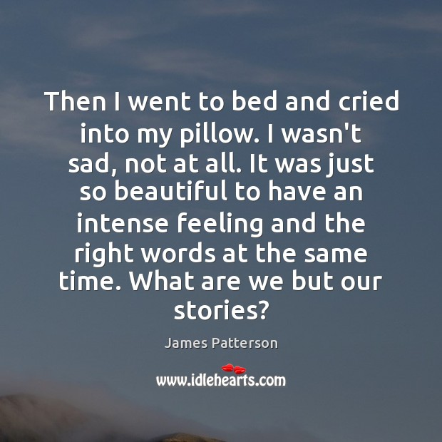 Then I went to bed and cried into my pillow. I wasn't James Patterson Picture Quote
