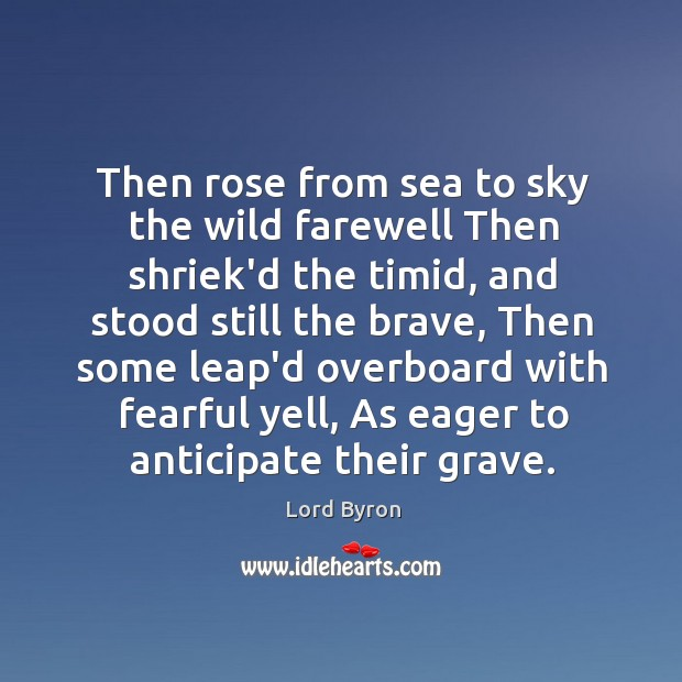 Then rose from sea to sky the wild farewell Then shriek'd the Image