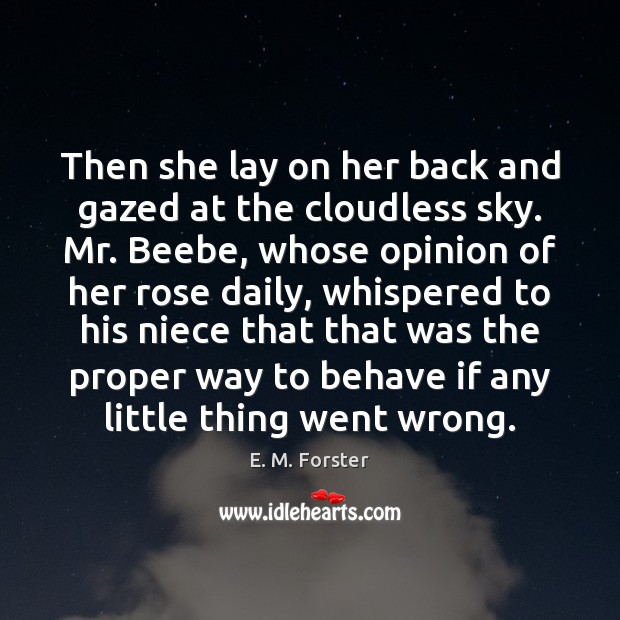 Then she lay on her back and gazed at the cloudless sky. Image