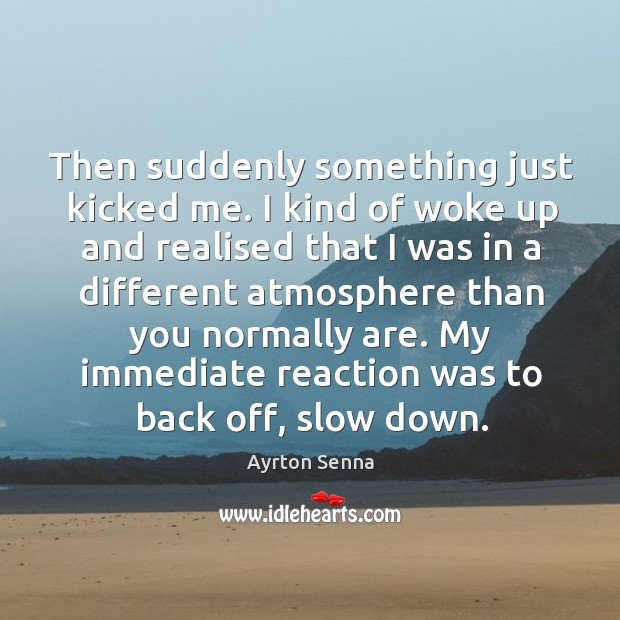 Then suddenly something just kicked me. I kind of woke up and realised that I was in Ayrton Senna Picture Quote