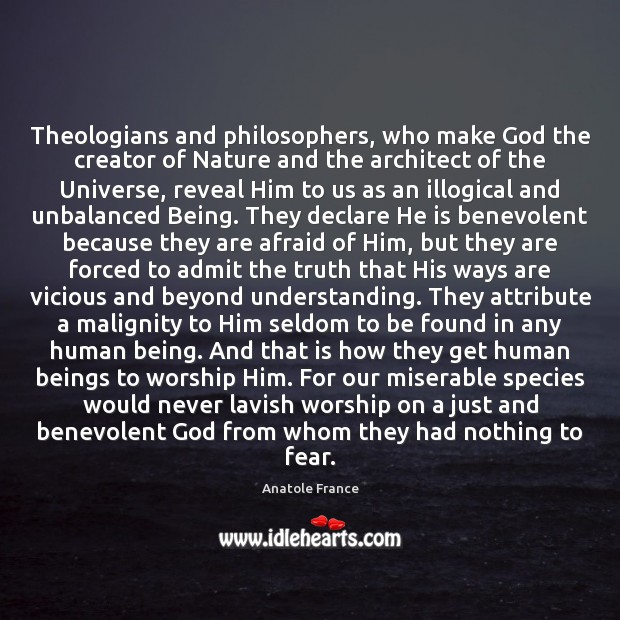 Image, Theologians and philosophers, who make God the creator of Nature and the