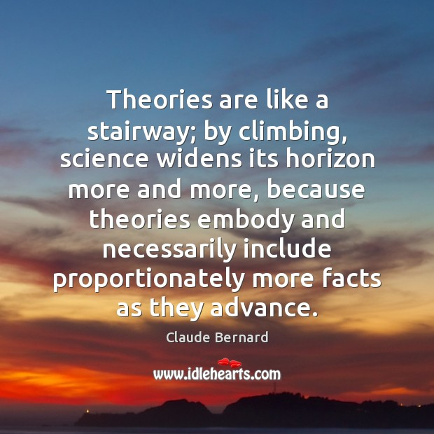 Image, Theories are like a stairway; by climbing, science widens its horizon more
