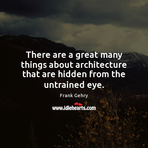 There are a great many things about architecture that are hidden from the untrained eye. Frank Gehry Picture Quote