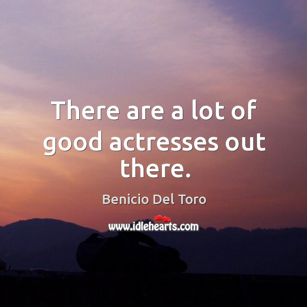 There are a lot of good actresses out there. Benicio Del Toro Picture Quote