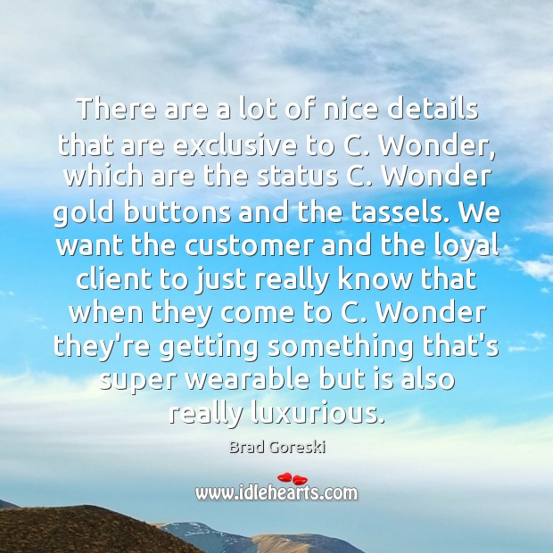 There are a lot of nice details that are exclusive to C. Brad Goreski Picture Quote