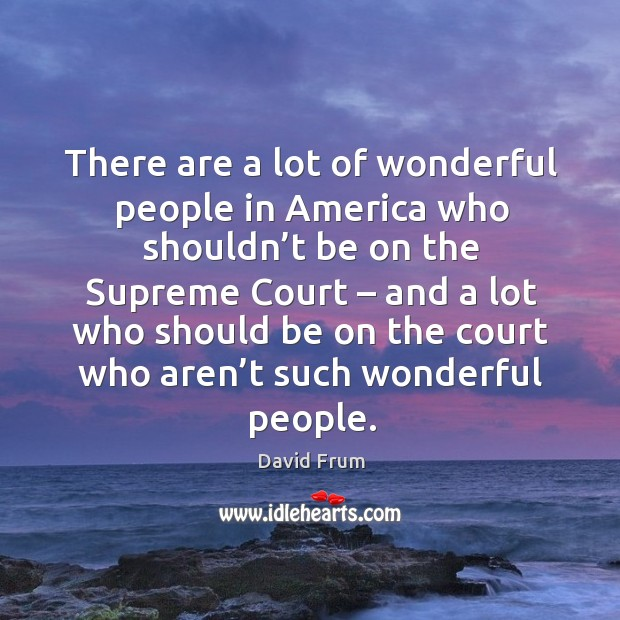 There are a lot of wonderful people in america who shouldn't be on the supreme court David Frum Picture Quote
