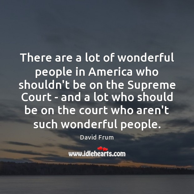 There are a lot of wonderful people in America who shouldn't be David Frum Picture Quote
