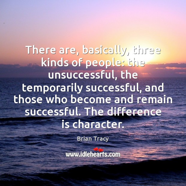 There are, basically, three kinds of people: the unsuccessful, the temporarily successful, Brian Tracy Picture Quote