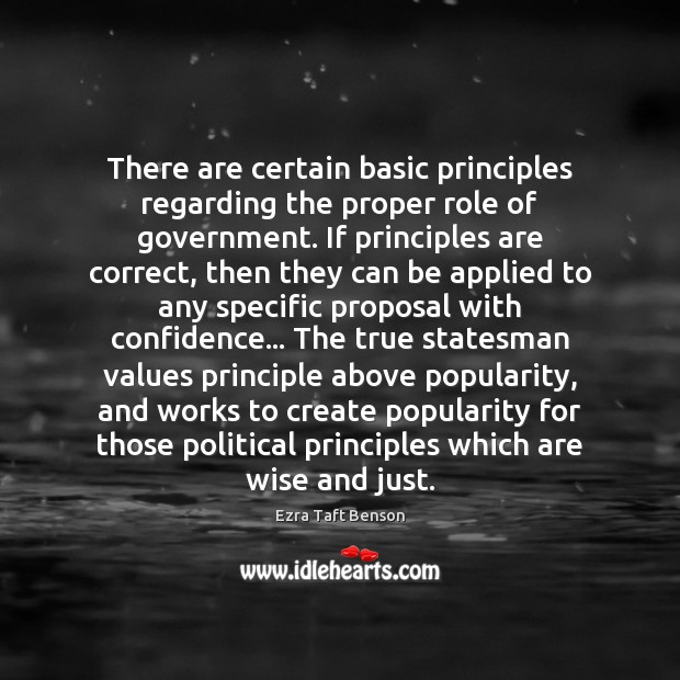 Image, There are certain basic principles regarding the proper role of government. If