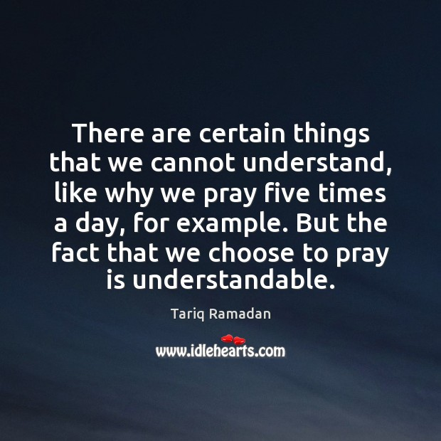 There are certain things that we cannot understand, like why we pray Tariq Ramadan Picture Quote