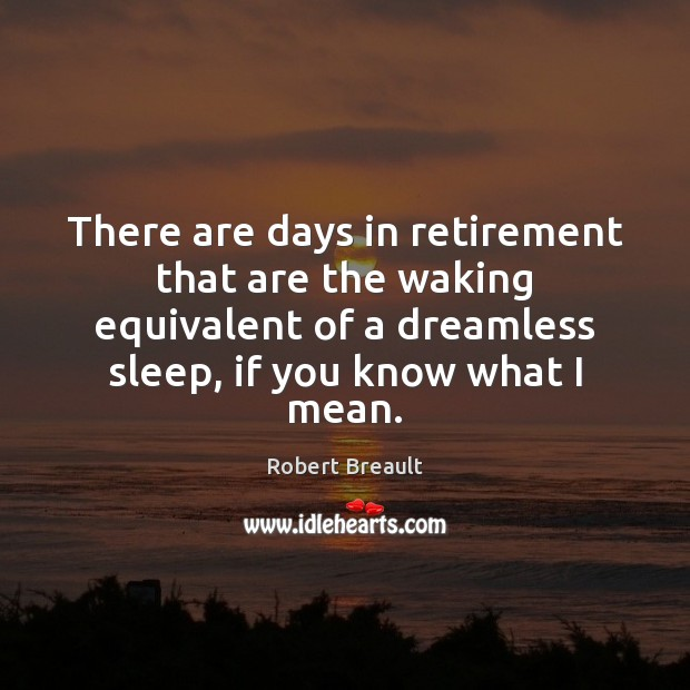 There are days in retirement that are the waking equivalent of a Robert Breault Picture Quote
