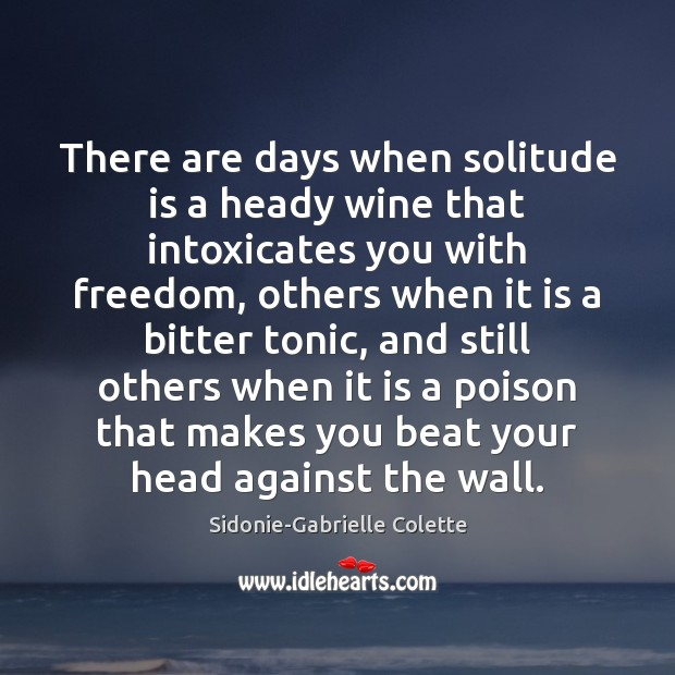 There are days when solitude is a heady wine that intoxicates you Sidonie-Gabrielle Colette Picture Quote
