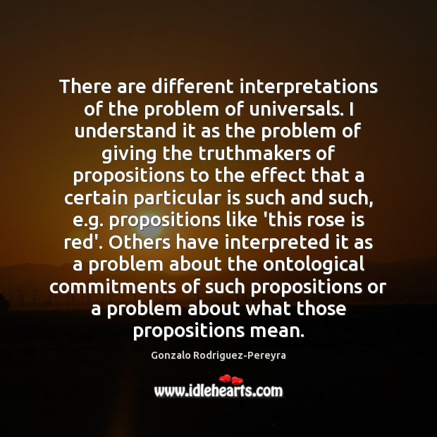 There are different interpretations of the problem of universals. I understand it Gonzalo Rodriguez-Pereyra Picture Quote