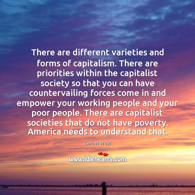 There are different varieties and forms of capitalism. There are priorities within Image