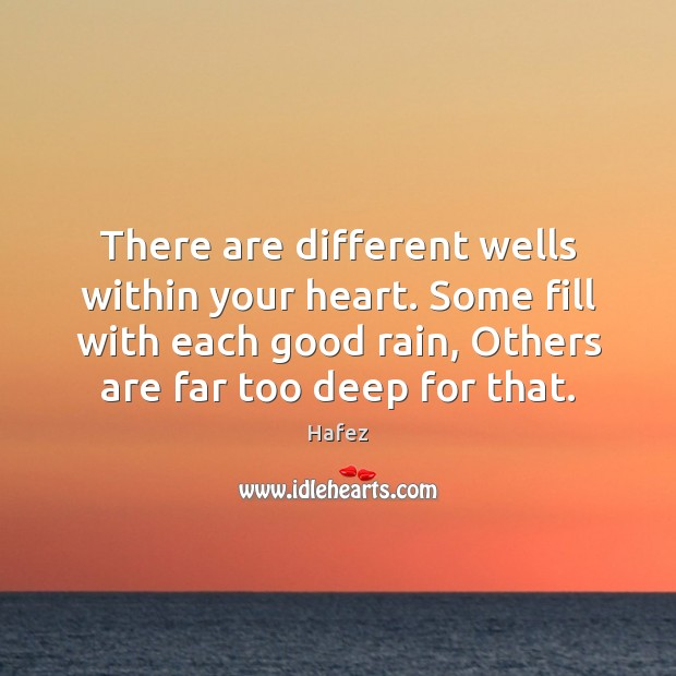 There are different wells within your heart. Some fill with each good Image