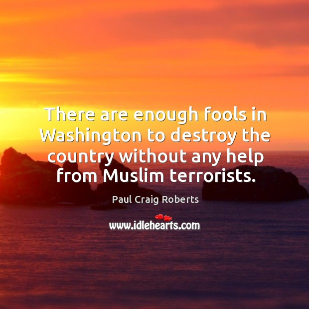 There are enough fools in Washington to destroy the country without any Paul Craig Roberts Picture Quote