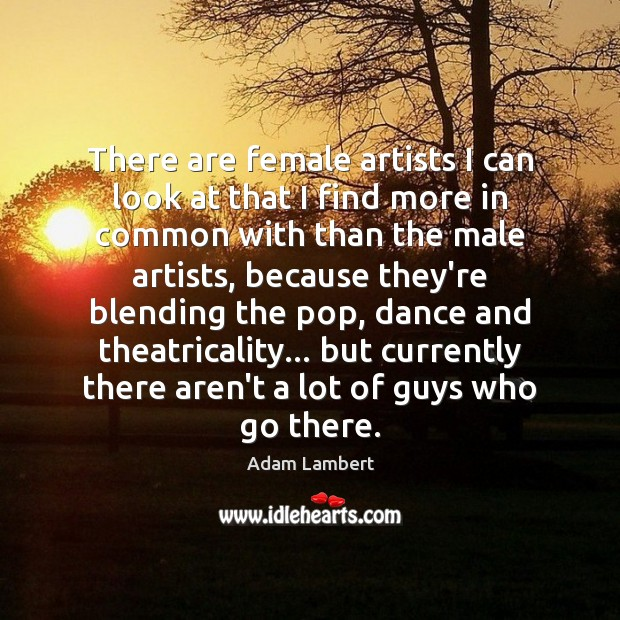 There are female artists I can look at that I find more Adam Lambert Picture Quote