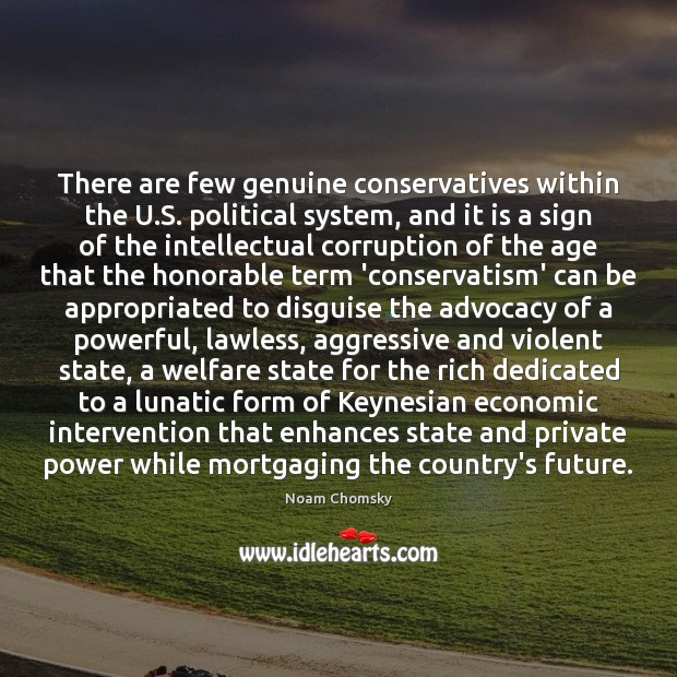 There are few genuine conservatives within the U.S. political system, and Image