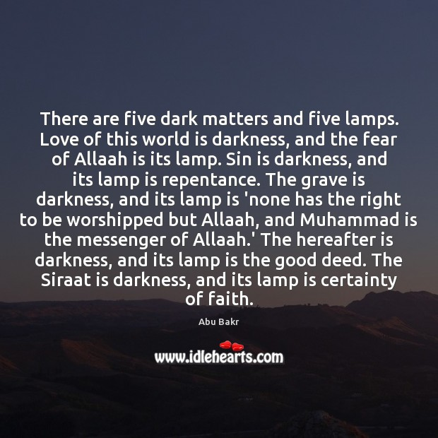 Image, There are five dark matters and five lamps. Love of this world