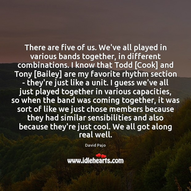 Image, There are five of us. We've all played in various bands together,