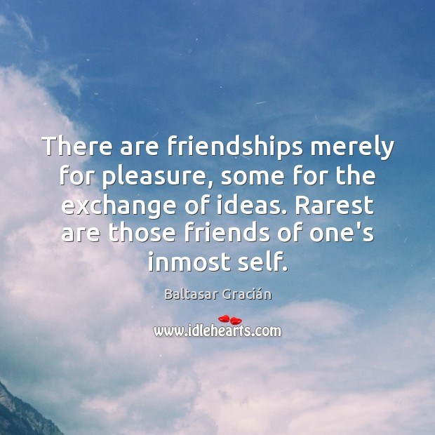 Image, There are friendships merely for pleasure, some for the exchange of ideas.
