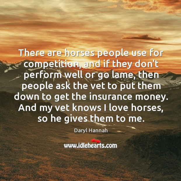 There are horses people use for competition, and if they don't perform Image