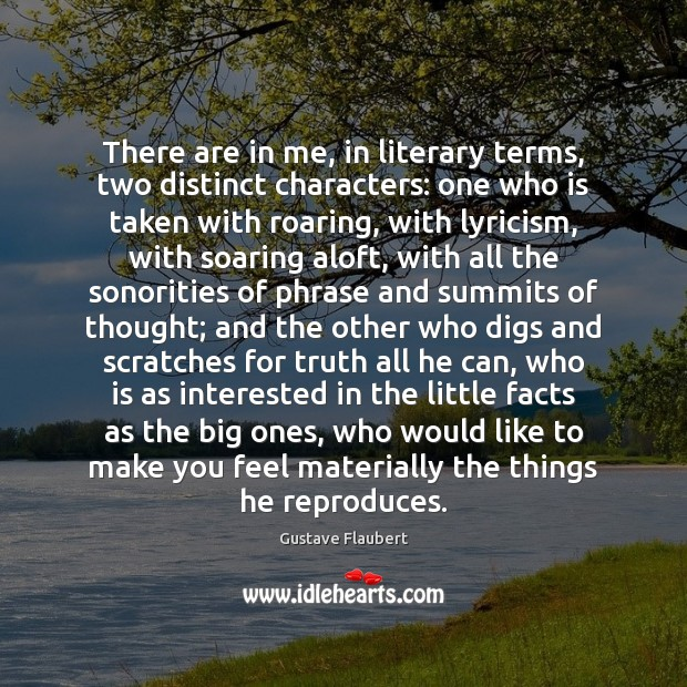 There are in me, in literary terms, two distinct characters: one who Image
