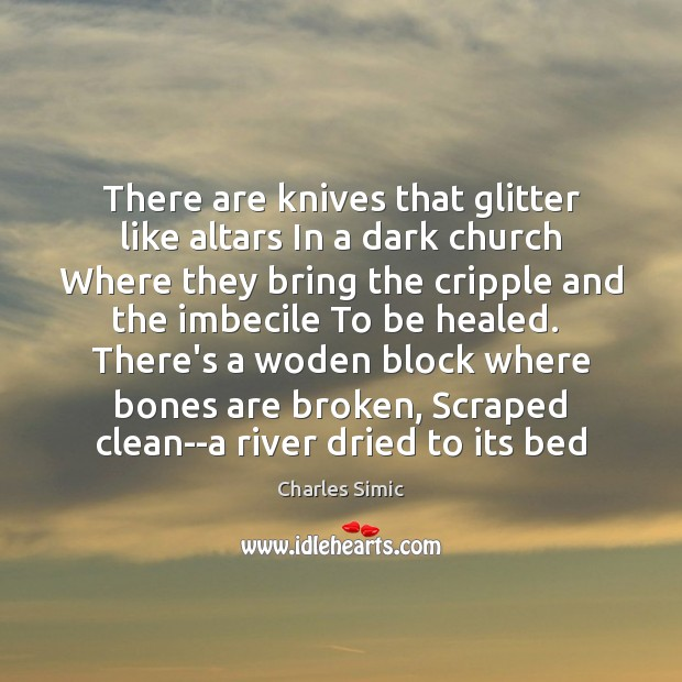 There are knives that glitter like altars In a dark church Where Charles Simic Picture Quote
