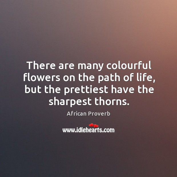 Image, There are many colourful flowers on the path of life, but the prettiest have the sharpest thorns.