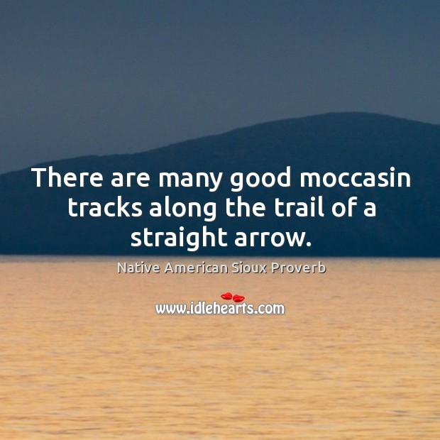 There are many good moccasin tracks along the trail of a straight arrow. Native American Sioux Proverbs Image