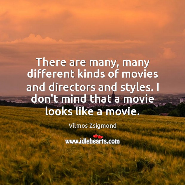 There are many, many different kinds of movies and directors and styles. Vilmos Zsigmond Picture Quote